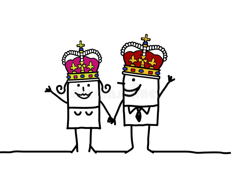Queen & King royalty free illustration