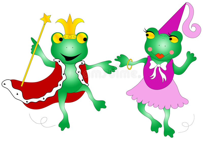 Queen and king frogs. Dancing frogs dressed as queen and king royalty free illustration