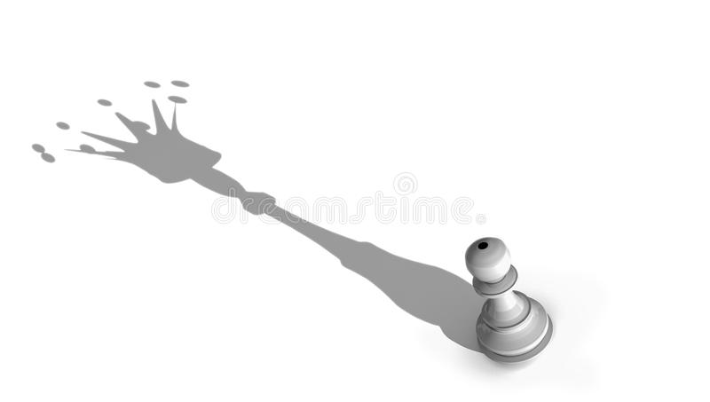 Queen king imagine chess pawn and big crown shandow -3d rendering. Queen king imagine chess pawn and big crown shandow psychology background -3d rendering stock illustration