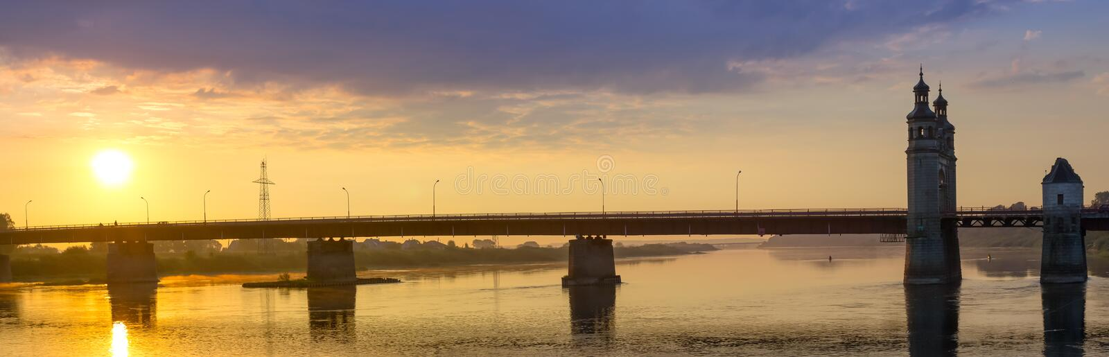 Queen Louise bridge. Across Neman river, road and pedestrian border crossing point on Lithuanian-Russian state boundary. Historical landmark on waterfront of royalty free stock photo