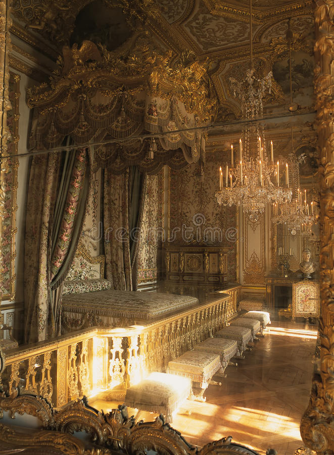 Queen Marie Antoinette bedroom reflection in mirror at Versailles Palace royalty free stock image