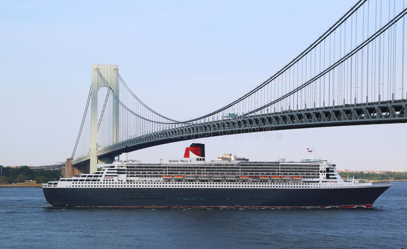 Queen Mary 2 Cruise Ship In New York Harbor Under