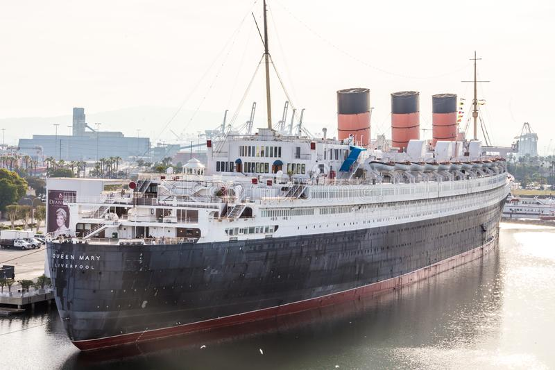 Queen Mary entrou no porto de Long Beach Califórnia EUA fotos de stock