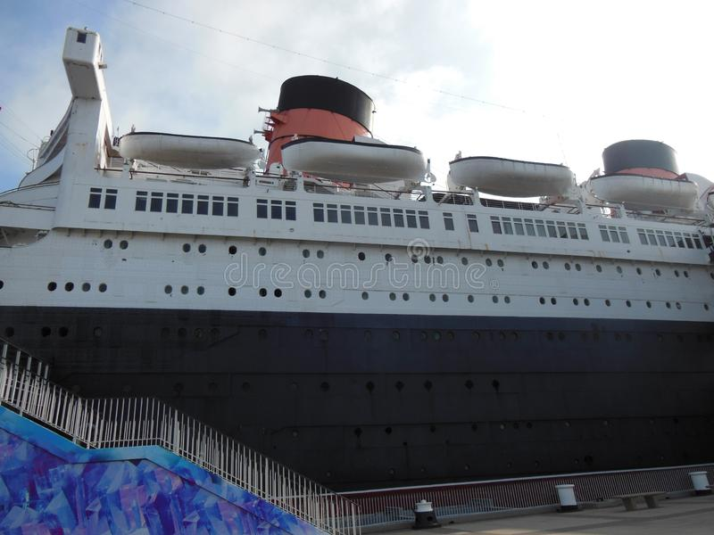 The Queen Mary and its Life Boats royalty free stock photography