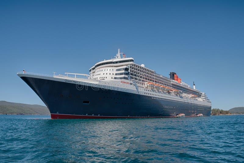 Queen Mary 2 jungfru- tur till Port Arthur, Tasmanien, Australien arkivbild
