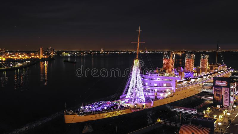 Queen Mary ship at night during Christmas royalty free stock image
