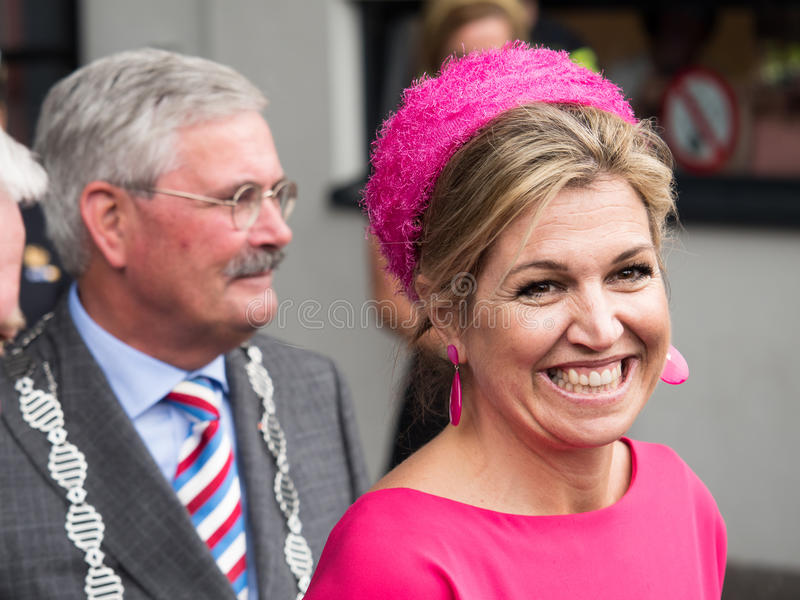 Queen Maxima of the Netherlands. DRONTEN, NETHERLANDS - 29 JUNE 2017: Queen Maxima leaves De Meerpaal in Dronten after the King and Queen`s s regional visit to stock photography