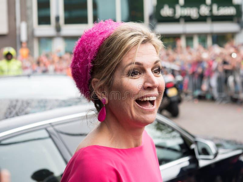 Queen Maxima of the Netherlands. DRONTEN, NETHERLANDS - 29 JUNE 2017: Queen Maxima leaves De Meerpaal in Dronten after the King and Queen`s s regional visit to stock image