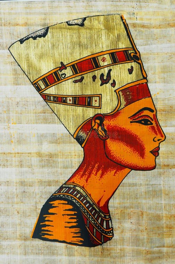 Queen Nefertiti on Egyptian Papyrus stock photo
