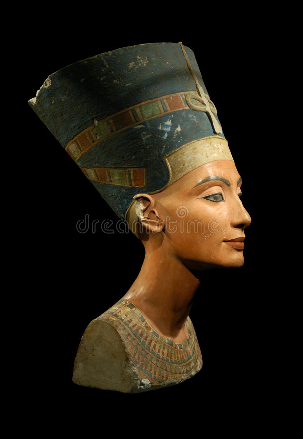 Queen Nefertiti Isolated on Black royalty free stock photo