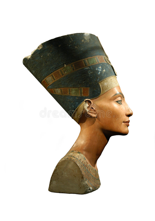 Queen Nefertiti Isolated on White stock images