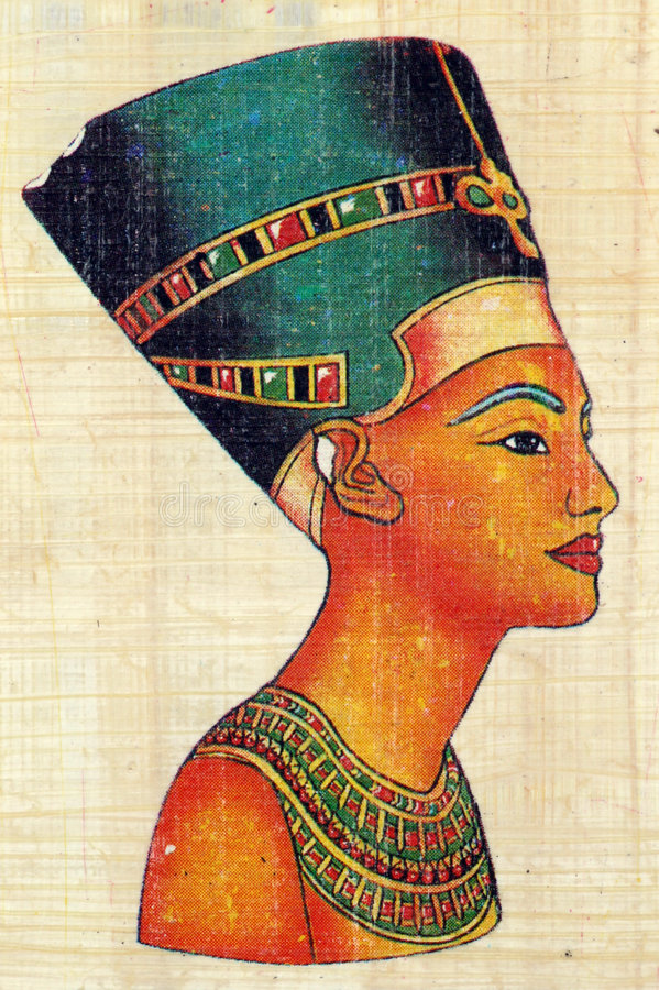 Download Queen Nefertiti on Papyrus stock image. Image of antique - 4052765