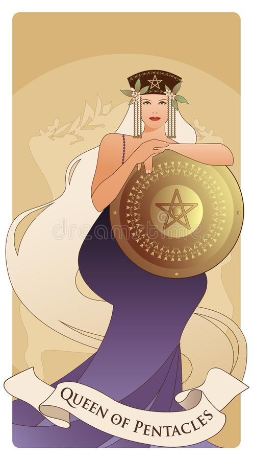 Free Queen Of Pentacles With Crown And Long Hair Holding Golden Shield With The Symbol Of The Pentacle In The Center. Stock Images - 139712174