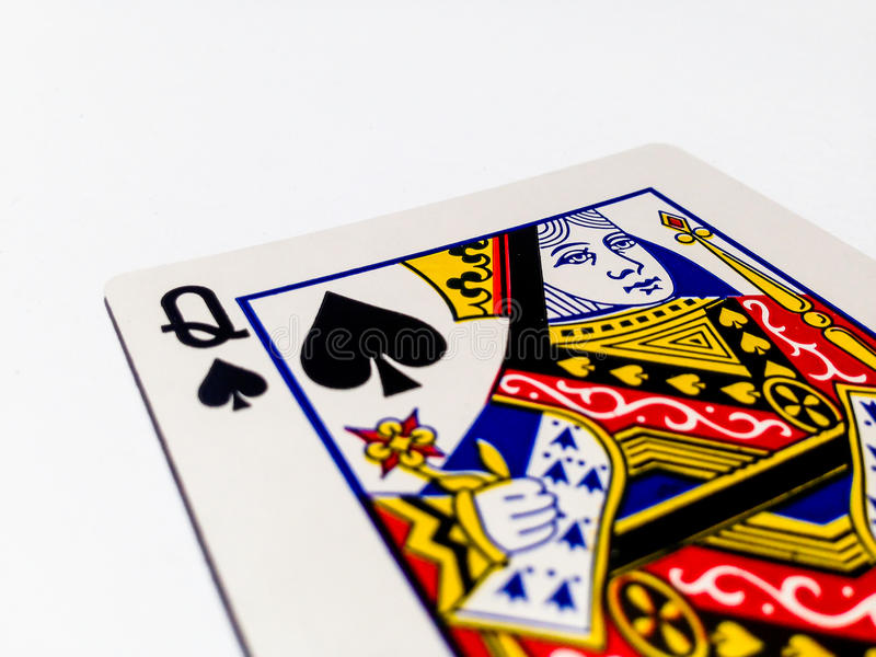 Queen Pikes / Spades Card with White Background. A playing card is a piece of specially prepared heavy paper, thin cardboard, plastic-coated paper, cotton-paper royalty free stock image