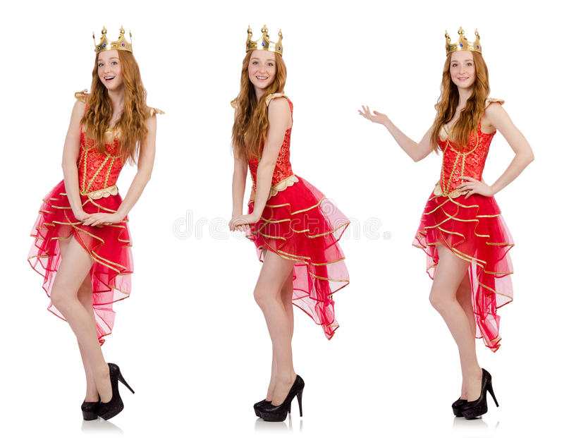 The queen in red dress isolated on white. Queen in red dress isolated on white royalty free stock photos