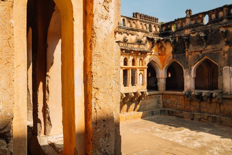 Queen`s bath Ancient ruins in Hampi, India. Queen`s bath, Ancient ruins in Hampi, India stock photos