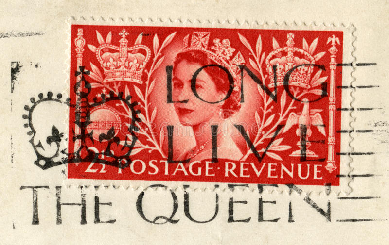 Queen`s Coronation Stamp and `Long Live The Queen` Postmark royalty free stock photos