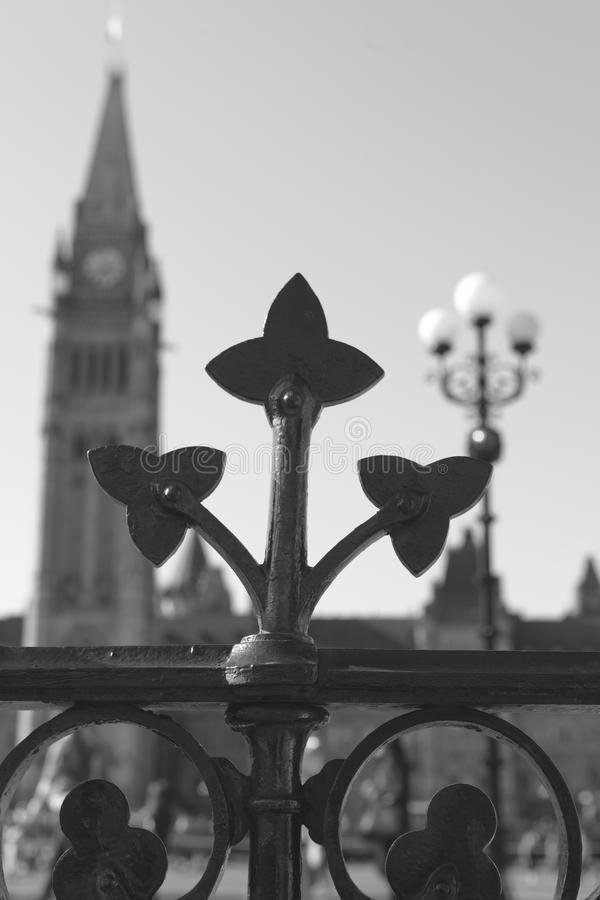Trillium flower iron gate of the Canadian Parliament royalty free stock photos
