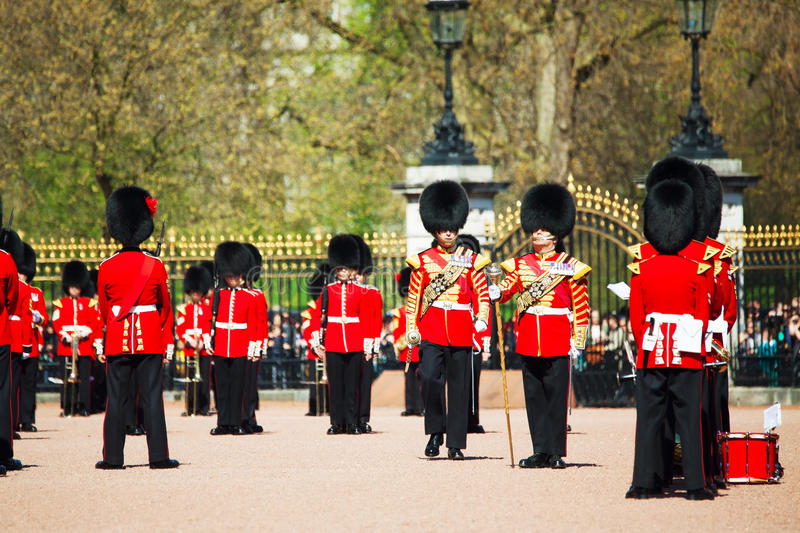 Queen's Guards at the Buckingham palace in London, UK royalty free stock images