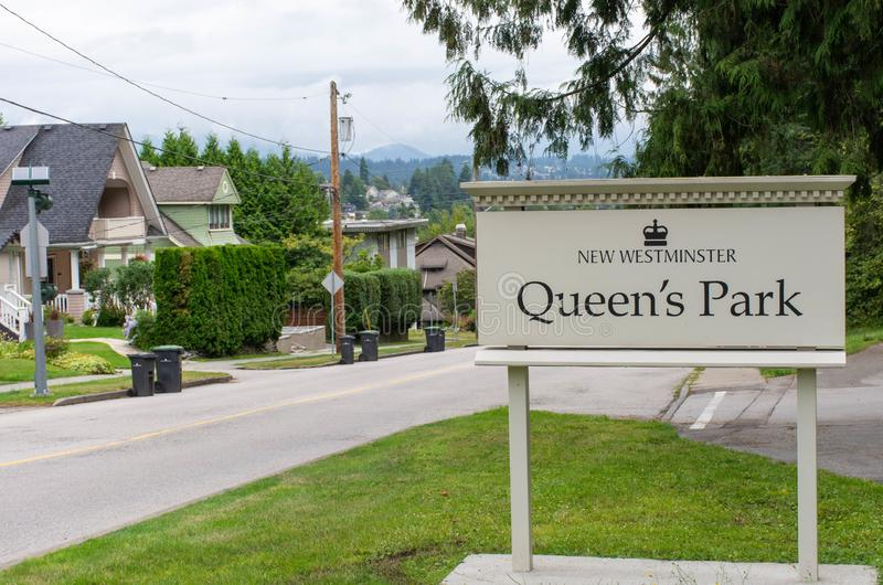 Queen`s Park entrance sign in New Westminster, British Columbia, Canada.  royalty free stock photography