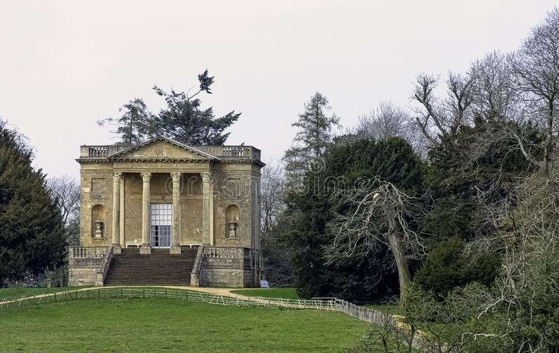 Queen`s Temple or Lady`s Temple on Hawkwell Field in Stowe, Buckinghamshire, UK stock photos