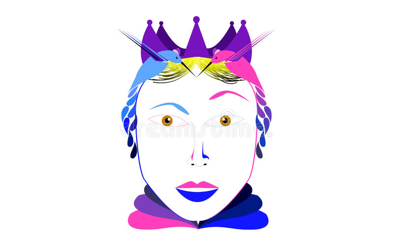 Queen. Of `s with two hummingbirds as crown excellent for logotypes, and advertising stock illustration