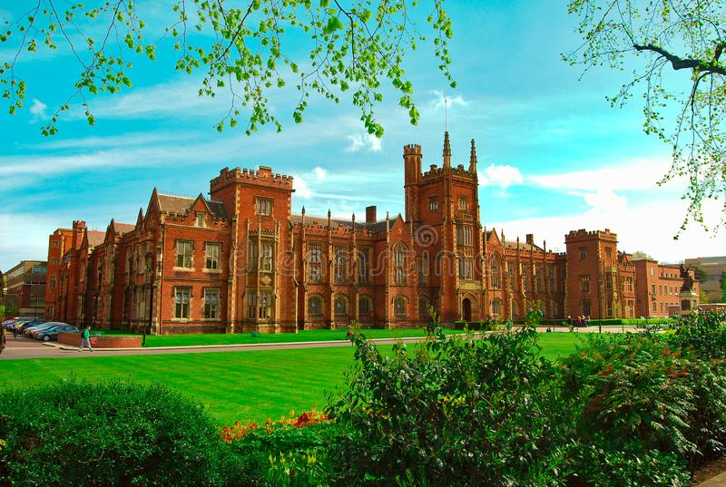 Queen`s University Belfast, Ireland, Spring stock images