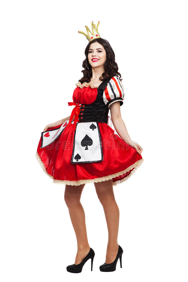 The Queen of Spades. Creative young lady in black. The Queen of Spades. Creative attractive lady in black and red colors dress royalty free stock photography