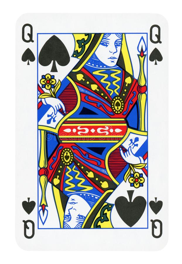 Queen of Spades playing card - isolated on white. Clipping path included stock image