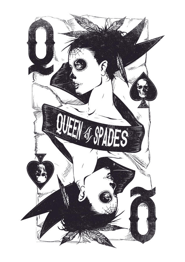 Queen of spades royalty free illustration