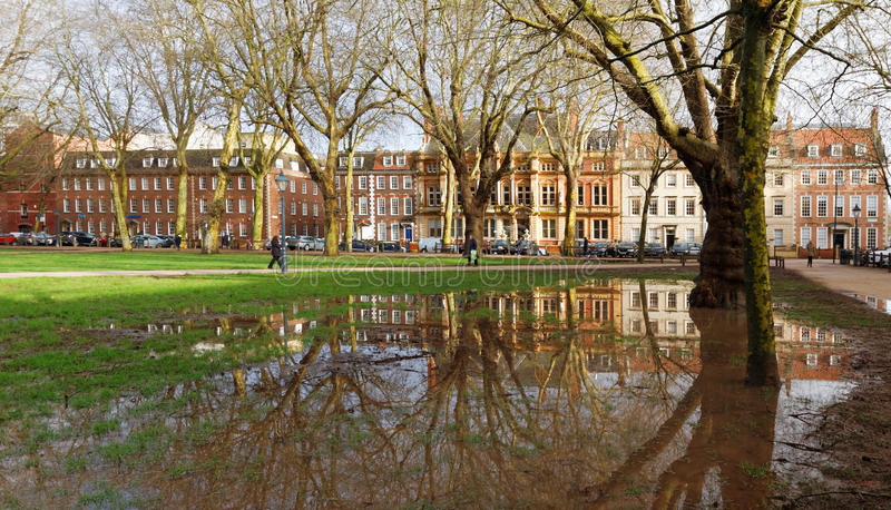 Queen Square, Bristol, UK after Heavy Rain royalty free stock photos
