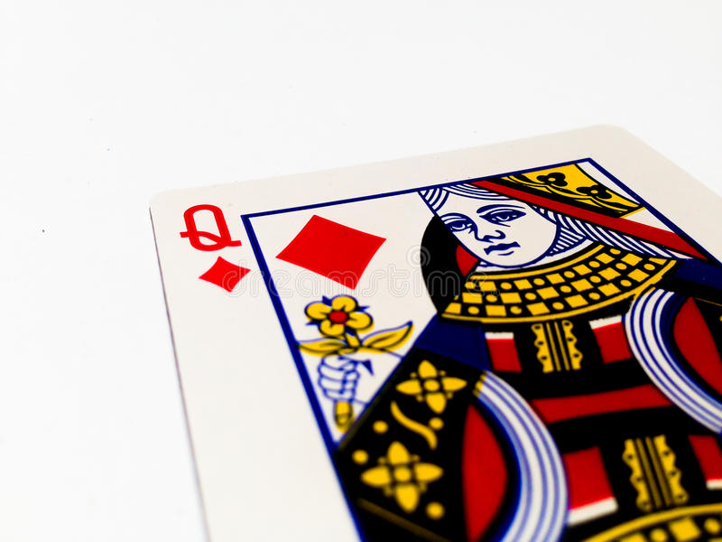 Queen Tiles / Diamonds Card with White Background. A playing card is a piece of specially prepared heavy paper, thin cardboard, plastic-coated paper, cotton royalty free stock photos