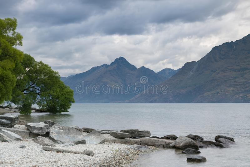 Queen Town Wakatipu lake after sunset sky New Zealand royalty free stock photo