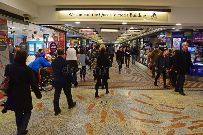 Queen Victoria Building Sydney underground entrance from Townhall railway station and The Galeries Victoria. This image is taken during lunch break where many stock image