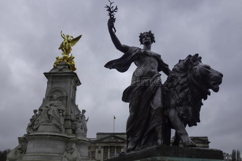 Queen Victoria Memorial in front of Buckingham palace stock images