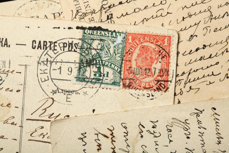 Queen Victoria postage stamps, Australia, Queensland. stock photos