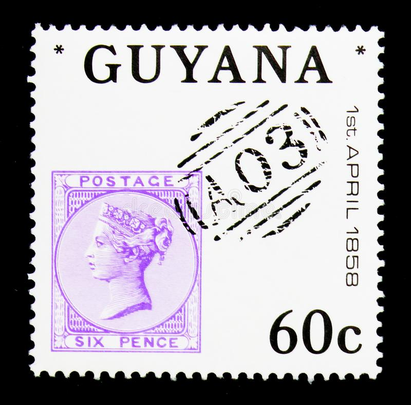 Queen Victoria six pence 1856, Great Britain Postal use in Briti. MOSCOW, RUSSIA - NOVEMBER 26, 2017: A stamp printed in Guyana shows Queen Victoria six pence royalty free stock photo