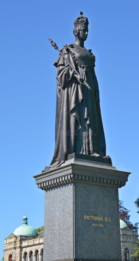Queen Victoria statue. VICTORIA, BC, CANADA, JUNE 23 2015 Queen Victoria statue in front the British Columbia Parliament Buildings are home to the Legislative stock photo