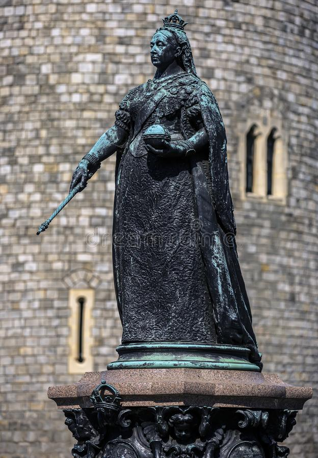 Queen Victoria Statue at Windsor Castle in Windsor, England. United Kingdom. It was erected in 1887 in celebration of the queen`s. Golden Jubilee stock photos