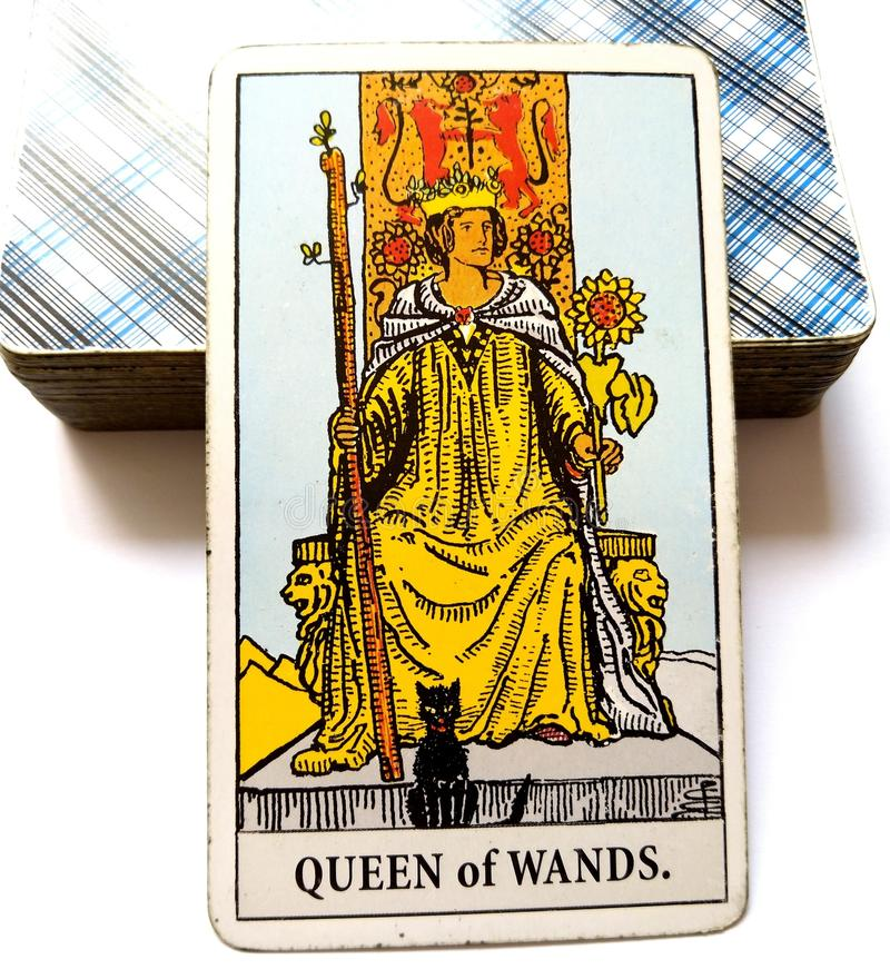 Queen of Wands Tarot Card. Be Strong, Capable, Dynamic, Powerful and Independent royalty free stock images