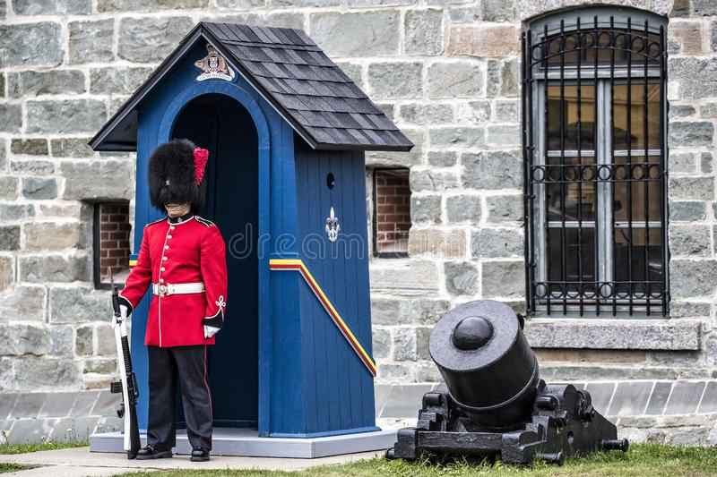 Queens Guard standing at attention at Citadel in Quebec City, Canada stock photography
