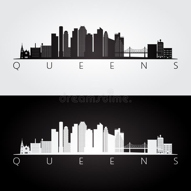Queens, horizon de New York Etats-Unis et silhouette de points de repère illustration stock