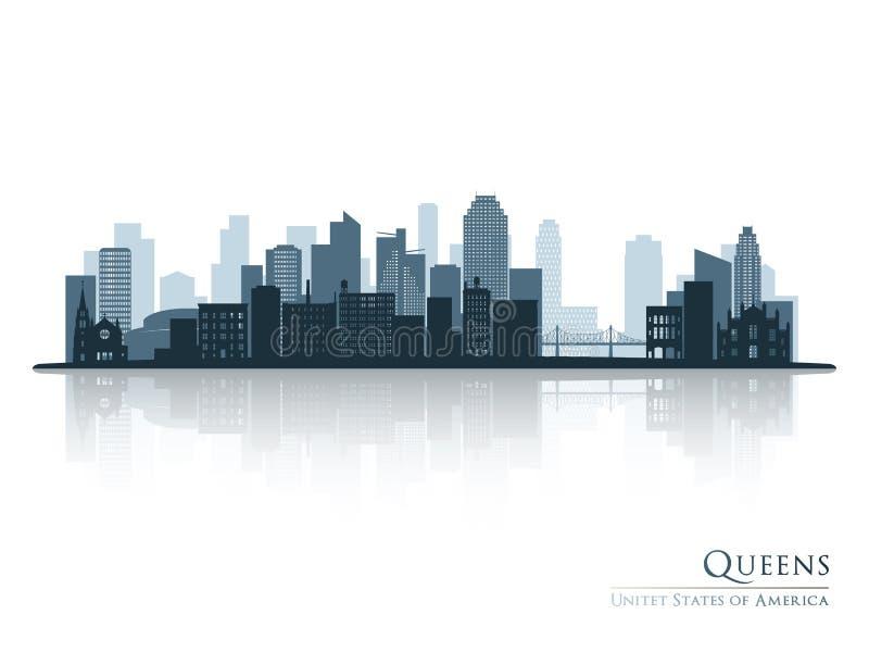 Queens, silhueta azul da skyline de New York com reflexão ilustração royalty free