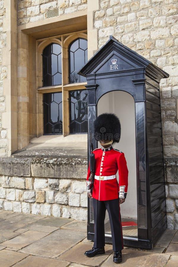 Queens strażnik przy wierza Londyn fotografia royalty free