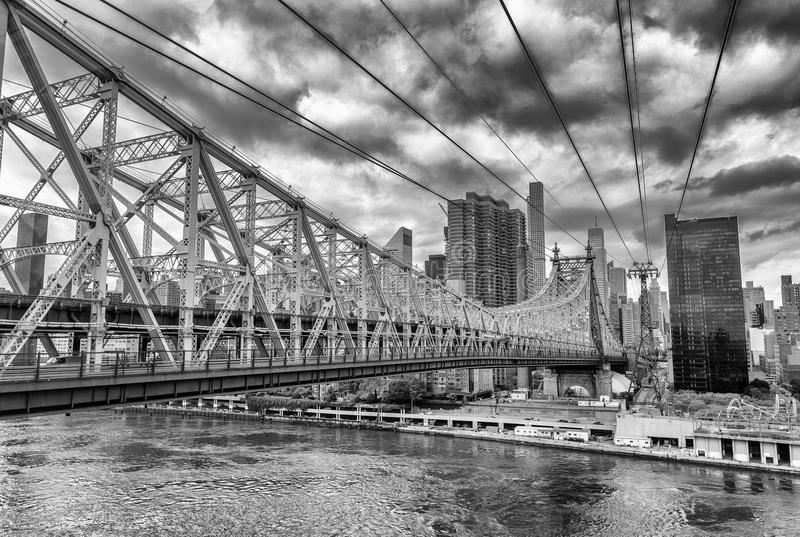 Queensboro Bridge, New York City on a cloudy day stock images
