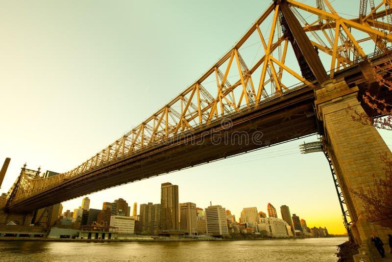 Queensborobrug over de Rivier van het Oosten in Manhattan royalty-vrije stock foto