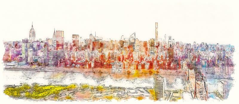 Queensborobrug over de Rivier van het Oosten in de Stad van New York stock afbeelding