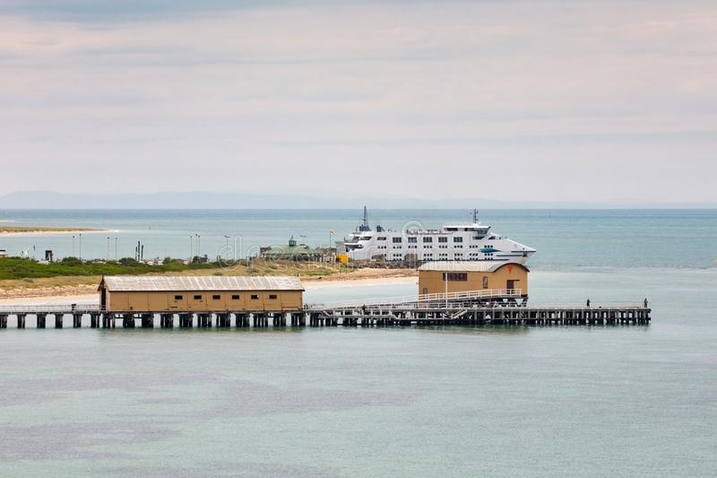 Queenscliff Ferry to Sorrento. Queenscliff`s iconic pier and ferry to Sorrento on a summer`s day on the Bellarine Peninsula, Victoria, Australia stock photos