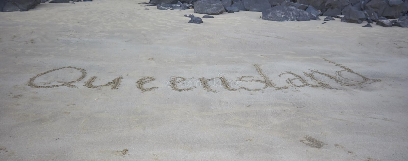 Queensland pisać w piasku fotografia royalty free