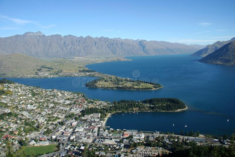 Queenstown. Landscape in New Zealand stock photography